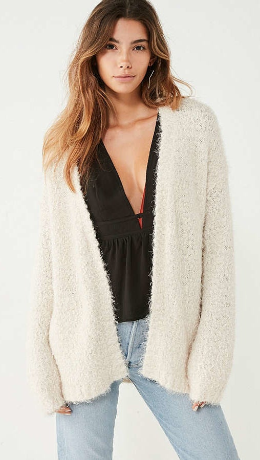 "Promising review: ""I wanted this cardigan to be a bit oversized, so I ordered a size up and it's perfect! It's incredibly soft, warm, comfortable, and it doesn't shed!"" —lex16Get it from Urban Outfitters for $59. Sizes: XS-L. Available in three colors."