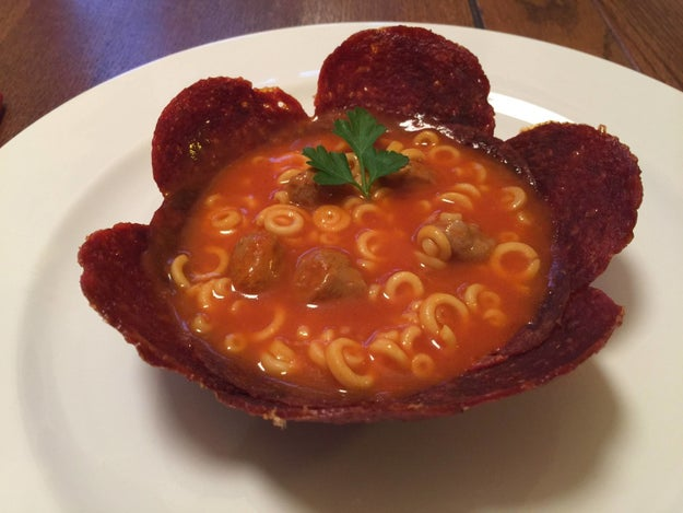 This edible soup bowl of pepperonis: