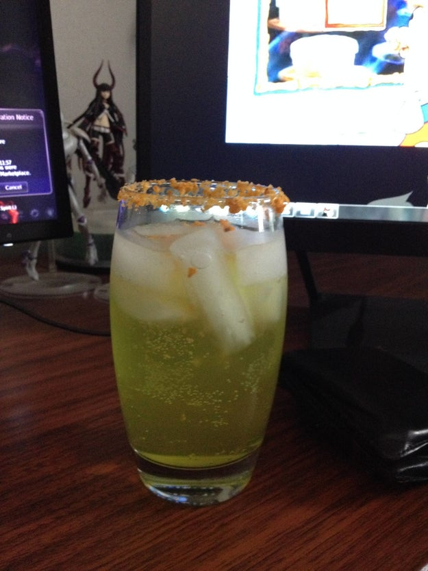 This Mountain Dew margarita with a Dorito-crumb rim: