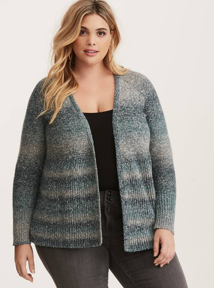 af721cd76b An ombré open front cardigan featuring a mix of grey and teal. This is sure  to make you teal so cozy.