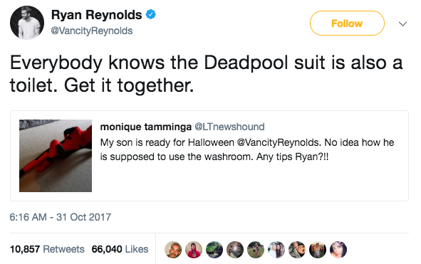 Most celebs would be like OMG COOL COSTUME LOVE IT. But, of course, Ryan had to jokingly diss the mom with this response: