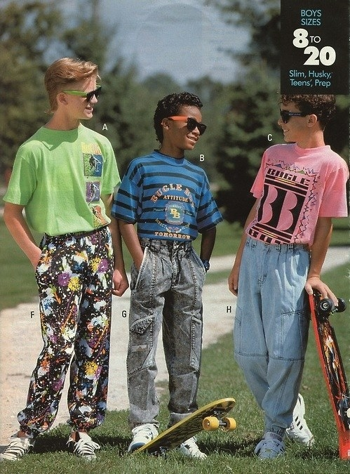 Then: everyone wore anything Bugle Boy.