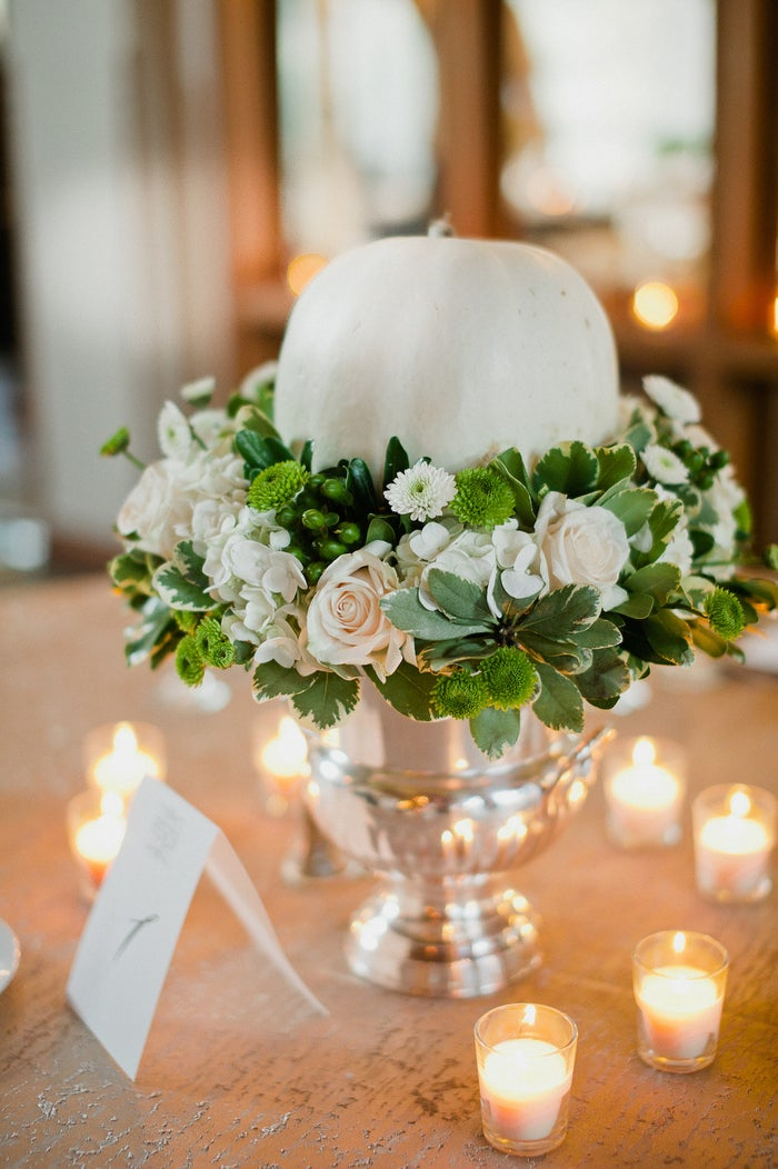 It wouldn't be fall without pumpkins! Fête Nashville creatively incorporated beautiful white pumpkins into each centerpiece.
