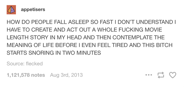 When you try to fall asleep:
