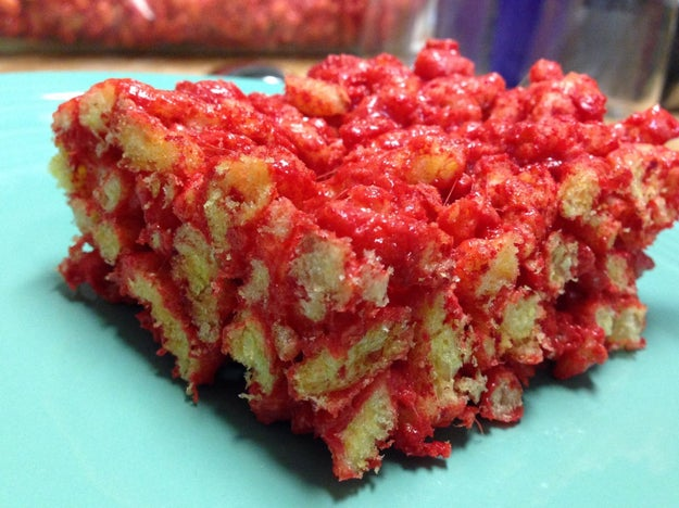 These Hot Cheetos marshmallow bars which look like the worst Halloween treats ever made.