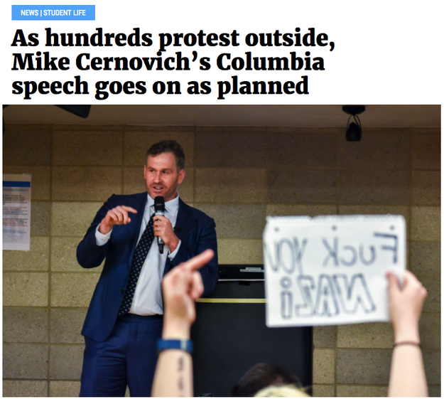 "Mike Cernovich, a pro-Trump Twitter personality known for peddling conspiracy theories like ""Pizzagate,"" gave a speech at Columbia University on Monday. He was met with protests."