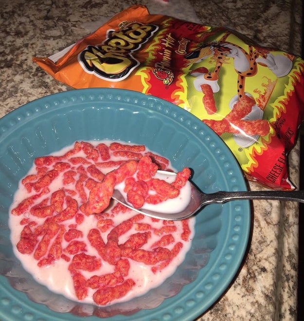 And Cheetos with milk which is somehow even worse.