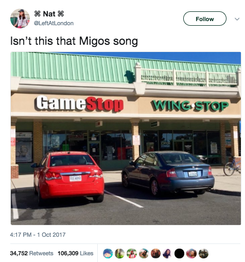 """It all started with this viral tweet, which joked that """"GameStop, Wingstop,"""" sounds like the lyric """"Raindrop, drop top"""" from Migos's song """"Bad and Boujee."""""""