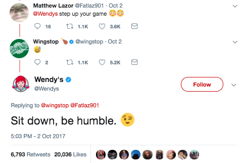 This led a fan to challenge Wendy's, who eventually chimed in with a rap lyric of their own: