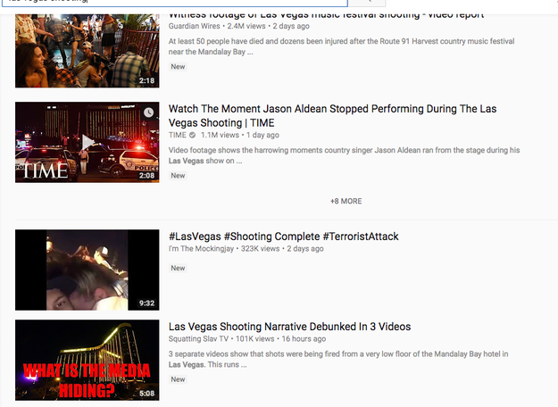 "The fourth result returned a video attempting to ""debunk the mainstream media's coverage of the shooting and included a thumbnail asking, ""WHAT IS THE MEDIA HIDING?"""