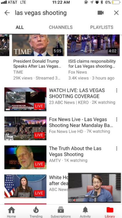 "As early as the morning after the shooting, the third YouTube search result for ""Las Vegas shooting"" was for videos from ""AMTV,"" a conservative conspiracy theory channel."