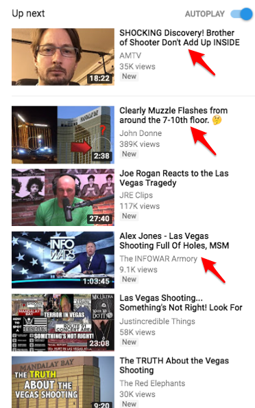 A look at the YouTube's right-side recommendation bar shows videos that erroneously suggest there was a a second shooter, as well as videos from Alex Jones' site, Infowars, which frequently peddles conspiratorial content.
