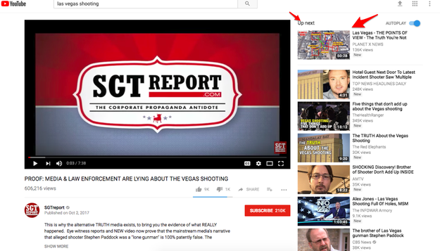 "From the ""SGTreports"" video, the next suggested video offers ""the truth you're not being told."""