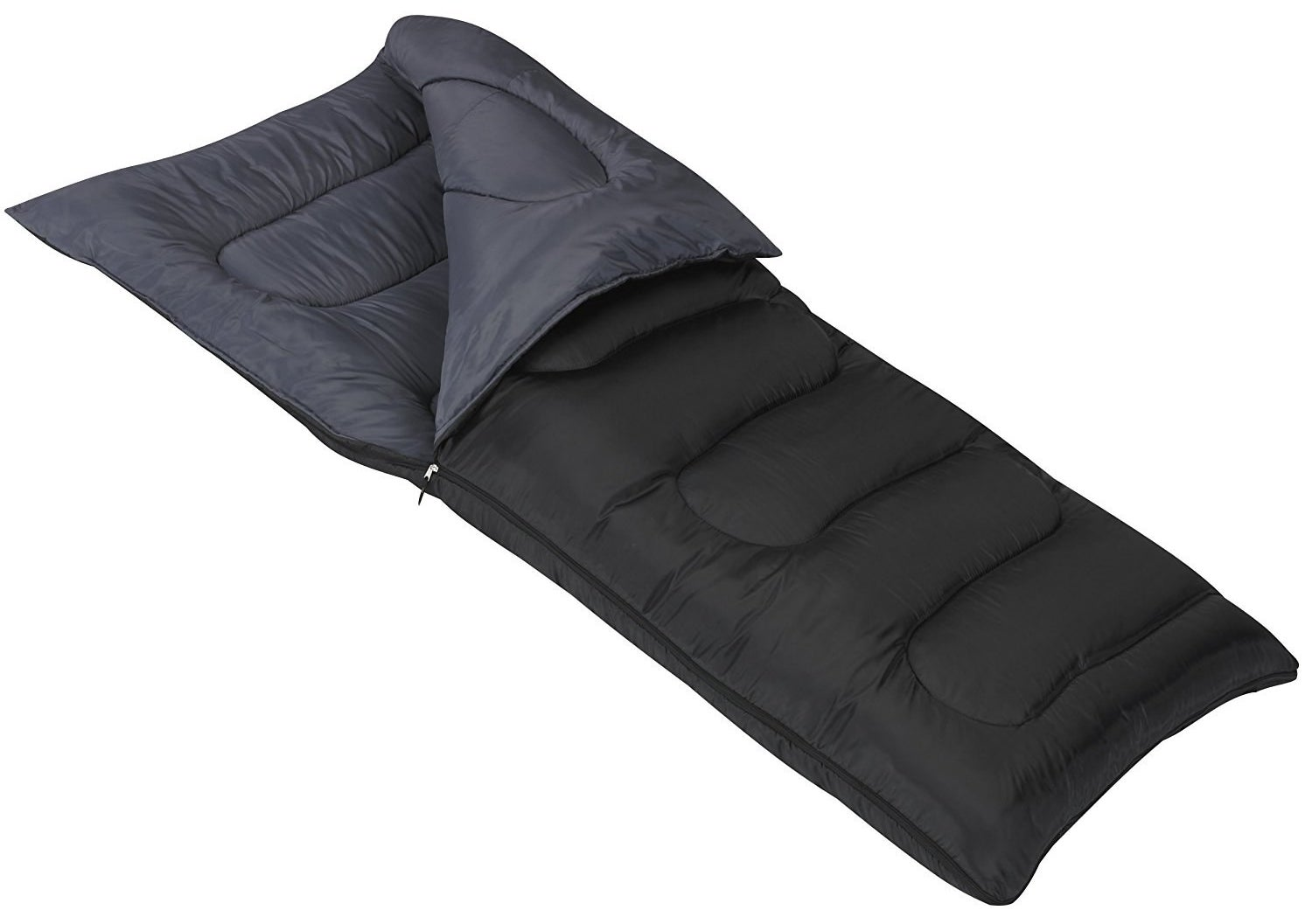 "This 25°F sleeping bag opens up to 81""x38"" and weighs 5 lbs. It can be unzipped all the way and used as a blanket. There are plastic roll straps for storage and transport.Promising review: ""I am 6'3"" and 350 pounds. I slept in this on a night that it was 40 degrees and was plenty warm in sleep shorts. It is BIG, so may not be the best option if you are taking it hiking, but for the price, you cannot beat this sleeping bag for warmth and size."" —James F.Price: $32.39"