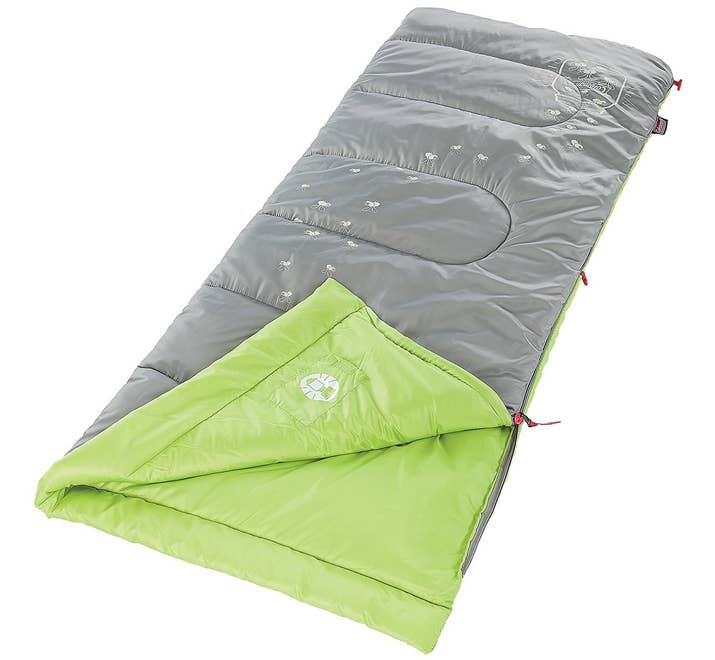 """This will keep kids warm even when it's 45°F outside. It weighs 2 lbs. and opens up to 72""""x24"""". It comes with an internal storage pouch and a stuff sack.Promising review: """"I bought this for my five-year-old son before our first camping trip. He LOVES it! I have to admit that I'm a little jealous that my sleeping bag isn't as adorable as this one! The lightning bugs glow in the dark long enough for him to go to sleep. He says it's very comfortable, too. It appears to be very good quality and kept him warm overnight in temps in the 40s. We loved it so much we purchased another for our eight-year-old son as well."""" —LauraPrice: $26.16"""