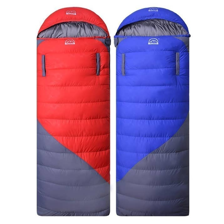 """This hooded sleeping bag is filled with 100% duck down and is suggested for use in temperatures above 32°F. It has a nylon shell, polyester lining, and YKK zippers. It measures 82.6""""x31.5"""" when opened (9.8""""x7.8""""x3.9"""" when compressed) and weighs 2.7 lbs. It can be opened up to use as a blanket.Promising review: """"I recently went camping with my old mummy-style sleeping bag. I was sleeping in a hammock and found I couldn't spread my feet, which after a while was quite uncomfortable. I tried my new sleeping bag in the hammock and was able to spread my feet, which makes a big difference. The arm holes are especially great, as I love to read before sleeping. Now I am looking forward to my next trip."""" —Richard C-SPrice: $78.99 (available in two colors)"""