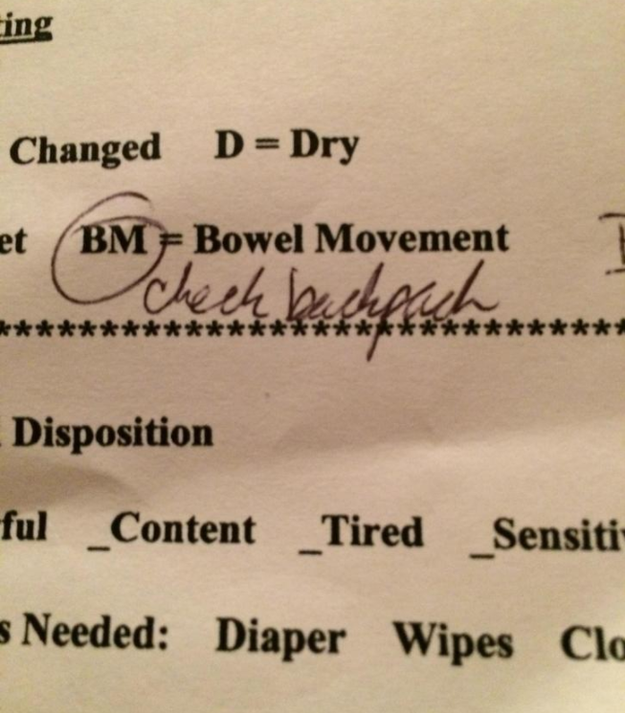 """Bowel movement — check backpack."""