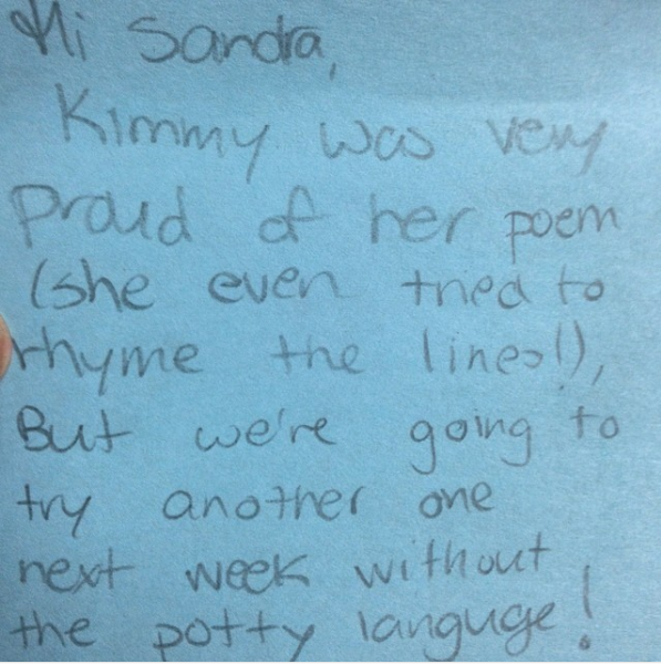 """Kimmy was very proud of her poem … but we're going to try another one next week without the potty language."""