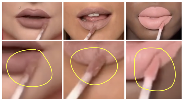 Again: three different models applying the same lipstick shade.