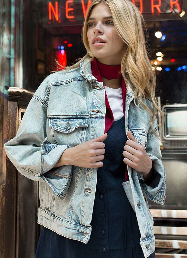 """Promising review: """"This oversized jean jacket is so cute and versatile. The denim is very soft and easy to move around in. I cannot wait to wear this every day in the fall with some enamel pins."""" –lavoieGet it from Urban Outfitters for $79 (available in two colors, sizes XS–L)."""