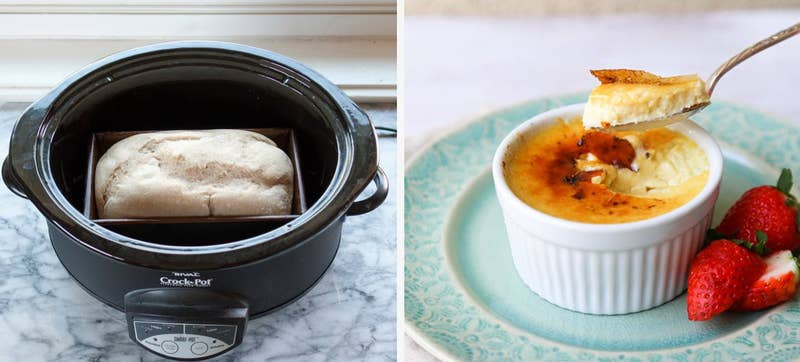 Think of your slow cooker as a mini oven: perfect for making things like custards and puddings in ramekins; jams and sauces in canning jars; or breads or cakes in baking dishes or loaf pans.Find the recipe for slow cooker bread here and slow cooker crème brûlée here.