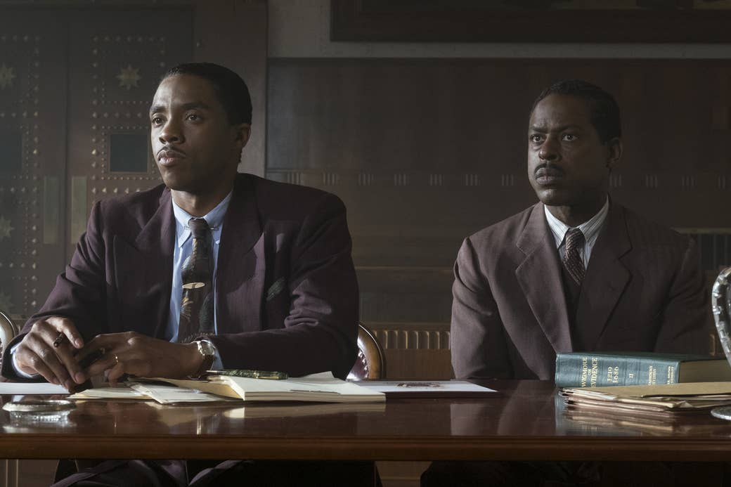 Chadwick Boseman and Sterling K. Brown in Marshall.