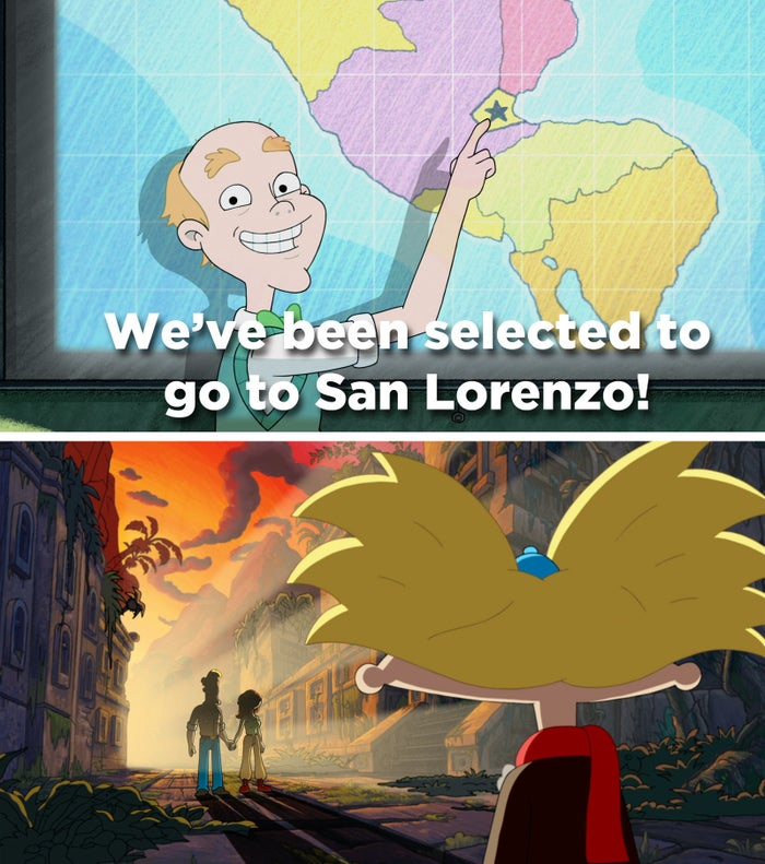 Remember? In the finale, Arnold had just found a map of San Lorenzo in his dad's old journal.