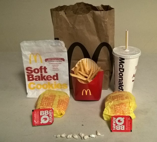 The cocaine was hidden inside a cookie bag and then concealed within a larger McDonald's order with two cheeseburgers, fries, and a soda, prosecutors said.