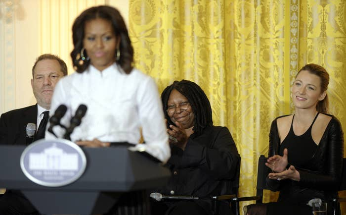 Harvey Weinstein, Whoopi Goldberg, and Blake Lively listen to then–first lady Michelle Obama as she speaks at White House.
