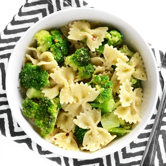 """""""My favorite go-to meal when I'm too tired to cook is this incredibly simple yet satisfying Bowties and Broccoli. I make some version of it at least once per week. It only requires a few ingredients that I always have on hand, takes about 15 minutes, and I can add in whatever else I might happen to have leftover in my fridge or pantry (walnuts, rotisserie chicken, fresh spinach, other types of cheese). I try to keep it 50-50 pasta and broccoli to make sure I'm getting my vegetables, and sometimes use whole wheat pasta to up the fiber.""""Get the recipe here."""