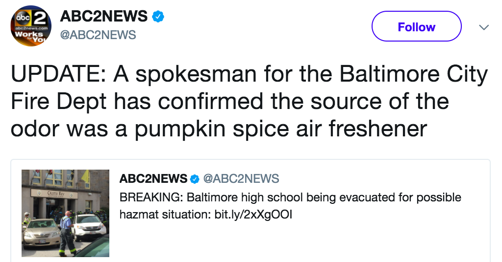 A High School Had To Evacuate After A Pumpkin Spice Air Freshener Prompted A Hazmat Call