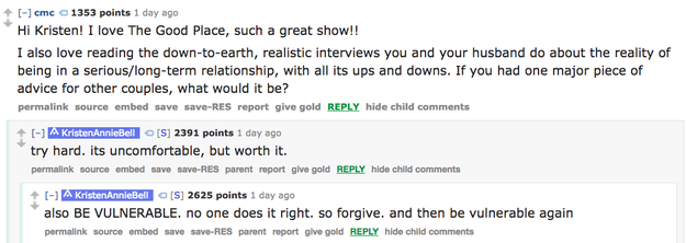 So when a fan asked Kristen for advice on long-term relationships during a Reddit AMA, Kristen got REAL.