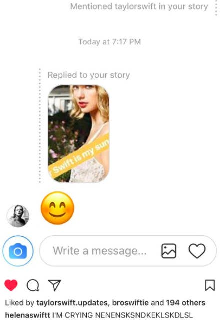 Taylor Swift Is Instagram Stalking Her Fans And The Screenshots Are