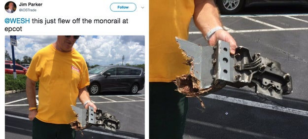Pieces of an Epcot monorail supposedly flew off the tracks into a parking lot this past June, almost hitting guests.
