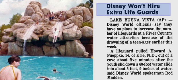A boy drowned after going down a water slide at Disney World's River Country Cove in 1982.