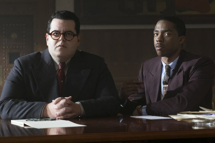 Josh Gad and Chadwick Boseman in Marshall.