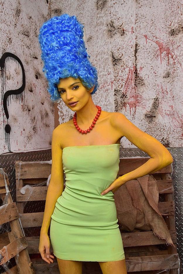 Emily Ratajkowski as Marge from The Simpsons.