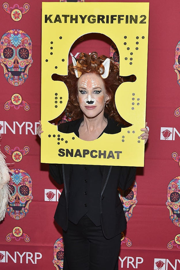 Kathy Griffin as the deer Snapchat filter.