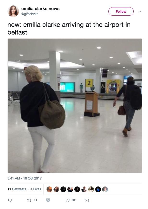 Emilia was spotted earlier arriving in Belfast with Kit Harington (Jon Snow).