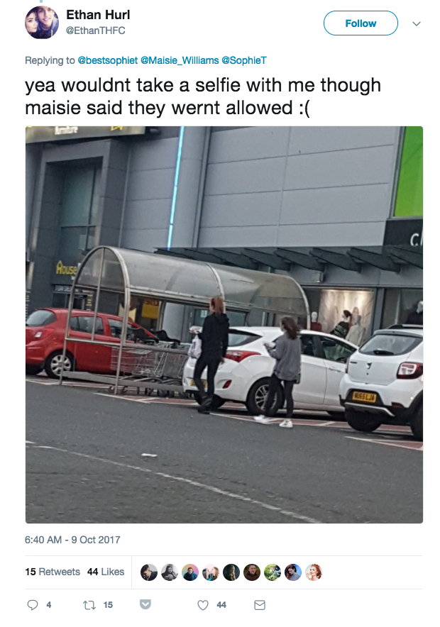 One fan bumped into Maisie Williams (Arya Stark) and Sophie Turner (Sansa Stark), but took a photo from a distance after being told selfies were a no-go zone.