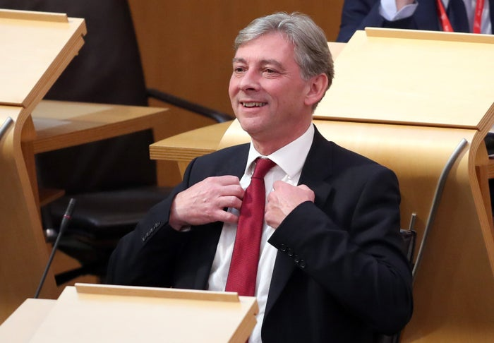 Scottish Labour leadership candidate Richard Leonard during First Minister's Questions at the Scottish parliament in Edinburgh.