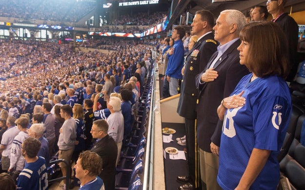 Vice President Mike Pence and his wife Karen attended the Indianapolis Colts game on Sunday in his native Indiana. However, the duo quickly left the game after players knelt during the playing of the national anthem.