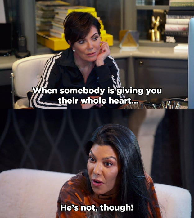 And when Kris tried to argue in Scott's favour, Kourtney told her that's exactly what he wants everyone to think.