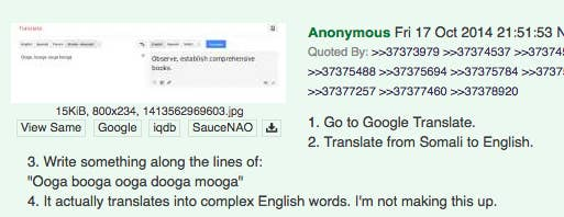 Google Translate Thinks