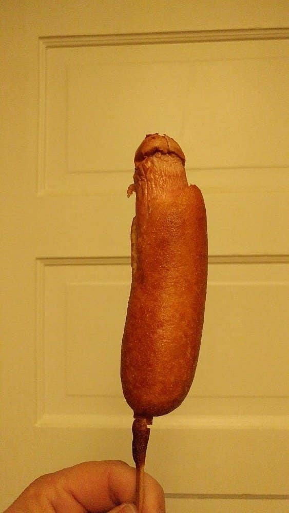 """""""Overcooked corn dog. Left it in the oven for over 40 minutes and"""