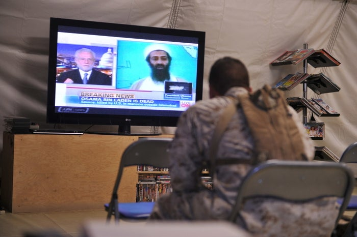 A US marines watching the announcement of the death of Osama Bin Laden May 2, 2011.