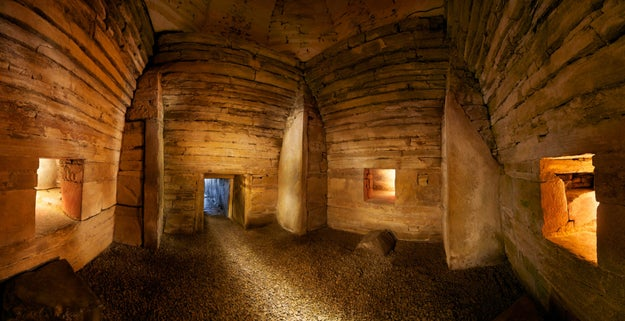 Watch a winter solstice sunset at Maeshowe in Orkney.