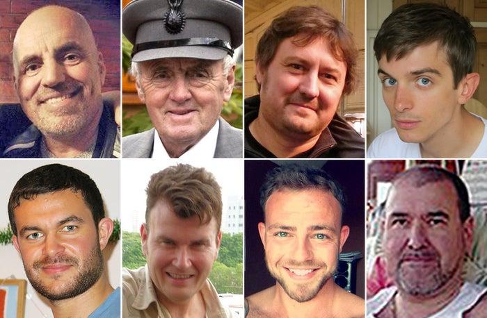 Shoreham air crash victims (clockwise from top left) Mark Trussler, Maurice Abrahams, Dylan Archer, Richard Smith, Mark Reeves, Matt Jones, Tony Brightwell and Matthew Grimstone.
