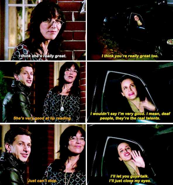When Amy met Jake's mom for the first time.
