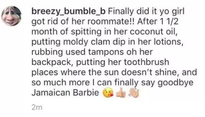 """After one and a half months spitting in her coconut oil, putting moldy clam dip in her lotions, rubbing used tampons on her backpack, putting her toothbrush places where the sun doesn't shine, and so much more, I can finally say goodbye to Jamaican Barbie,"" Brochu posted to her Instagram.The posts were shared with Brochu's then-roommate, Chennel Rowe, who was already in the process of moving out. Police are requesting Brochu be charged with intimidation based on bigotry or bias, according to multiple news reports. Police have not returned requests by BuzzFeed News for information on these charges."